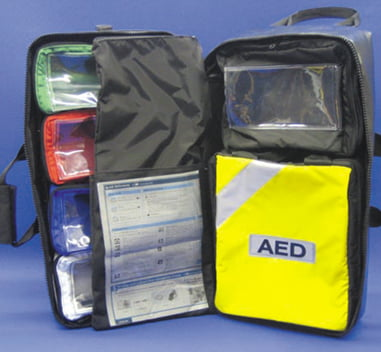 Oxygen Pack EMS (EMS/OP/2007) Manufactured in heavy duty wipe clean material. This pack has detachable top and side skid sheets, top and side grab handles with torch attachment and a full foldaway backpack. The front has twin opening pouches with elasticated mesh pouches and a removable CD oxygen insert with safety strap. The inside has a collar and document centre pouch, detachable zip opening colour coded windowed pouches (4 x medium, 1 x large) and 1 x detachable AED pouch. This makes a robust, compact Primary Response Pack. Size: 58(H) x 28(W) x 33(D) £198